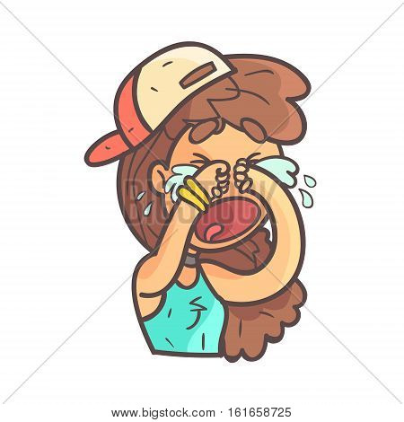 Crying Out Loud Girl In Cap, Choker And Blue Top Hand Drawn Emoji Cool Outlined Portrait. Part Of Funky Flat Vector Sticker Series With Teenager Different Emotional Facial Expressions In Comics Style.
