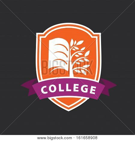 vector logo tree and the book for college