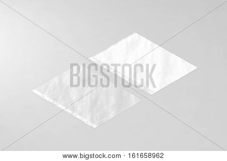 Empty crumpled document protector and blank white A4 paper sheet mockup in transparent plastic sleeve isometric 3d rendering. Translucent business file pocket mock up. Plain worksheet envelope.