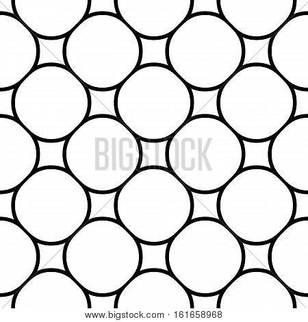 Vector monochrome seamless pattern, simple geometric figures, illustration of mesh lattice. Black & white repeat texture, abstract endless background. Design element for prints, digital, textile, web, decoration