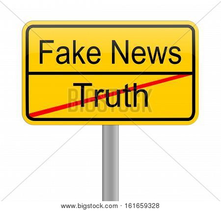 yellow Fake News - Truth sign on white background