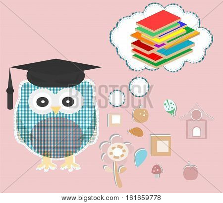 Owl reading book. Nature sign. Education concept