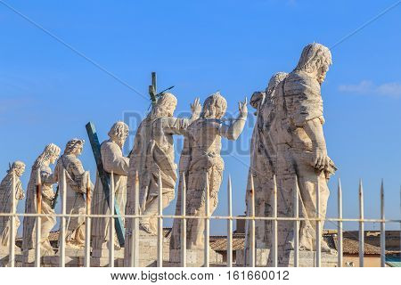 The Sculptures On The Facade Of St. Peter's In Rome