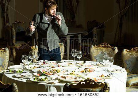 Handsome Man Steals Food