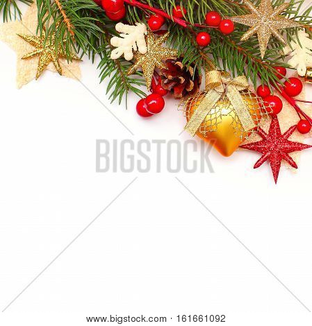 Christmas Background with Xmas Tree Twig and Decorations. Abstract Christmas or New Year Border for Xmas Card