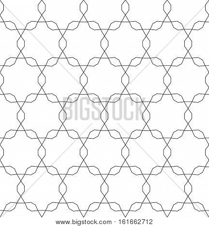 Vector monochrome seamless pattern, repeating geometric tiles, ornamental tracery background, black & white. Endless texture. Design for tileable print, wrapping, fabric, cloth, textile, decoration