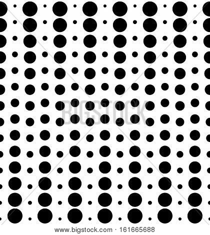 Vector monochrome seamless pattern, different sized circles & dots, black & white vertical rows. Modern simple endless background. Trendy repeat geometric texture for your designs, prints, decoration