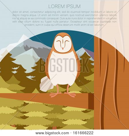 Vector image of the Screech-Owl on the flat tree background