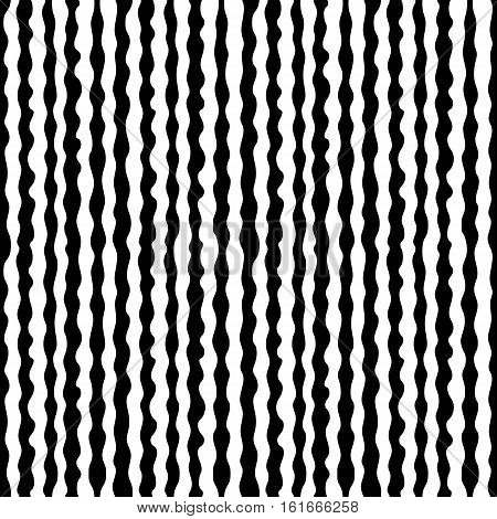 Vector monochrome seamless pattern, hand drawn vertical wavy lines, black & white endless texture. Design element for tileable print, decoration, stamping, textile, furniture, package, digital, web