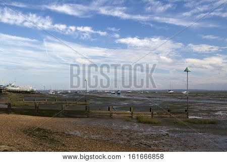 Boats and sea defences at Leigh-on-Sea near Southend Essex England