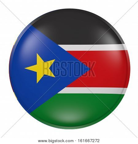 South Sudan Button On White Background