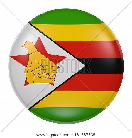 Zimbabwe Button On White Background