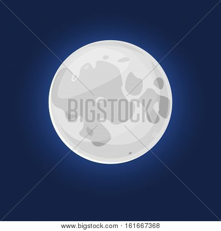 The silvery Moon, vector illustration natural satellite of the Earth