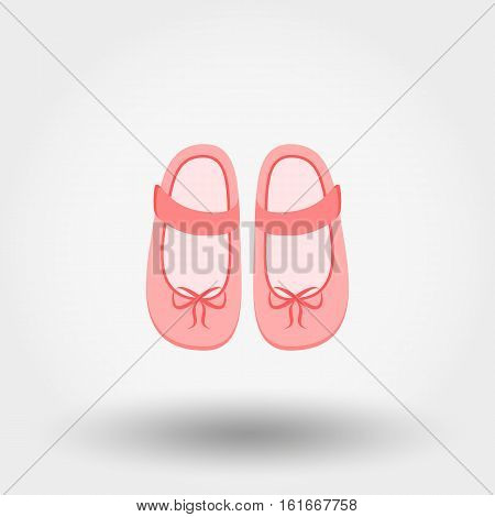 Shoes with bows. Baby shoes. Baby shoes. Icon for web and mobile application. Vector illustration on a white background. Flat design style.