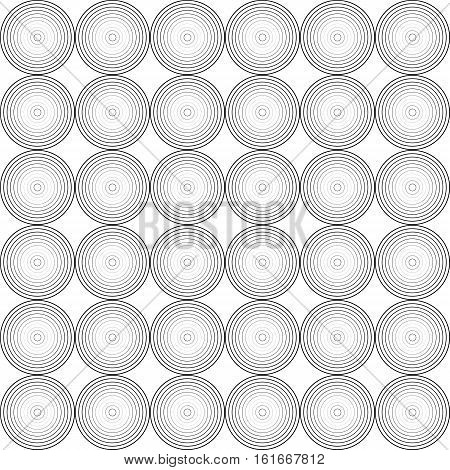 Vector monochrome seamless pattern, geometric texture with repeating concentric circles. Modern abstract background, dynamic visual effect. Design element for printing, stamping, digital, decor, web
