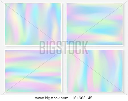 Holographic wallpapers set. Smooth trendy textures. Hipster style backdrops. Modern vector blur illustrations for web design fashion or printed products.