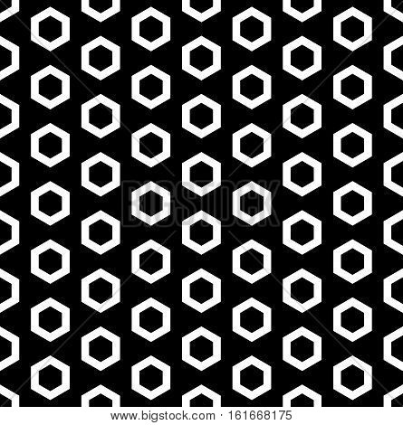 Vector monochrome seamless pattern, white outline hexagons on black background. Simple geometric texture for tileable print, stamping, decoration, digital, web, package, cover, textile, identity