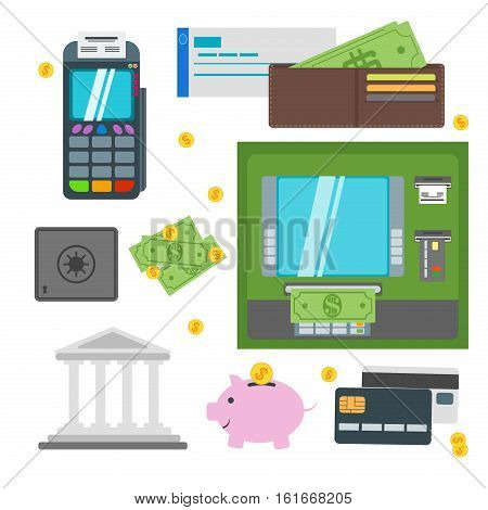 Money ATM - cash machine icons set. Payment design atm icons self-service terminals currency dollar credit business sign. Finance and business atm icons money bank card.
