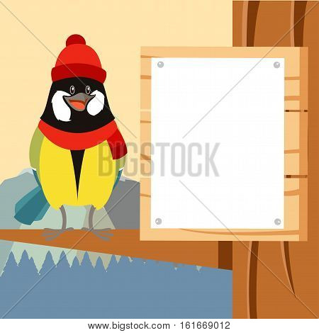 Vector image of the Happy Titmouse with Hat on the Tree winter flat background