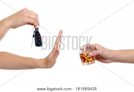 Woman with car key refusing glass of alcoholic beverage, on white background. Don't drink and drive concept