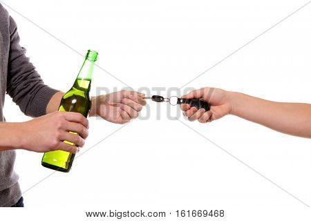 Woman taking car key from drunk man, on white background. Don't drink and drive concept