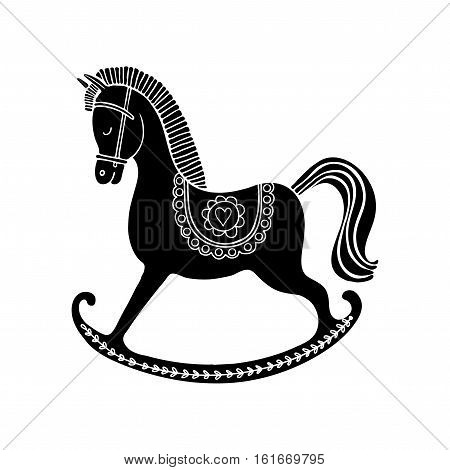 Hand drawn vector rocking horse. Vintage black horse on white background