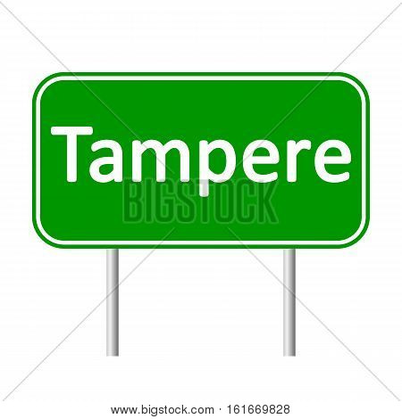 Tampere road sign isolated on white background.