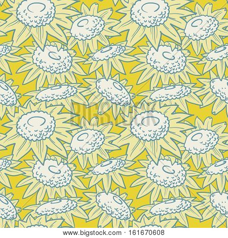 Decorative vector sunflowers seamless pattern. Summer flowers background. Doodle decor style floral colorful wallpaper.