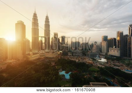 Kuala Lumpur skyline and skyscraper during sunset in Kuala Lumpur Malaysia.