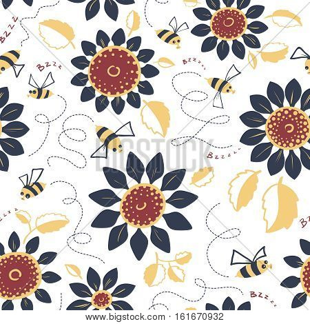Decorative vector sunflowers seamless pattern. Summer flowers and cute bees background. Doodle decor style floral colorful wallpaper.