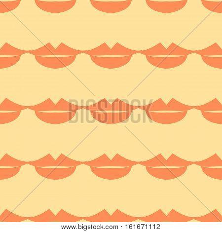 Lips Seamless pattern. Beige background. Vector illustration
