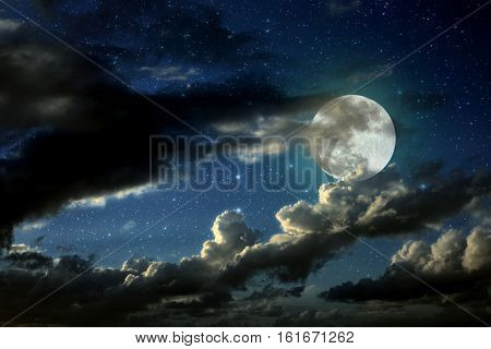 Full Moon, Clouds, Night Sky, Magical Background.