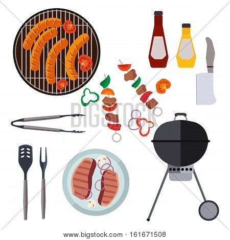 Collection BBQ barbecue icons design elements in cartoon style. Picnic barbecue lunch, outdoors cooking dinner set. Vector illustration