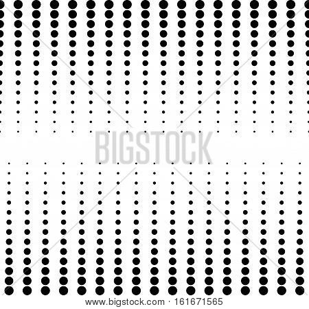 Vector monochrome seamless pattern, different sized circles & dots, vertical rows, black & white. Modern endless texture. Design for tileable print, stamping, decoration, web, digital, textile, cover