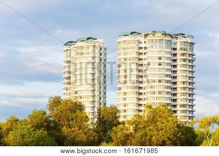 Condominium or apartment with blue sky for background
