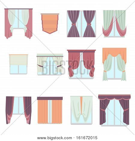 Big collection of various window decoration curtains in flat style. Home interior curtain isolated on white. Vector decor