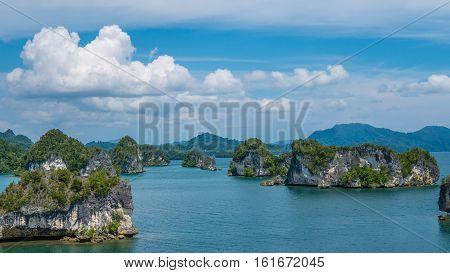 Rocks Landscape in Kabui Bay near Waigeo. West Papuan, Raja Ampat, Indonesia.