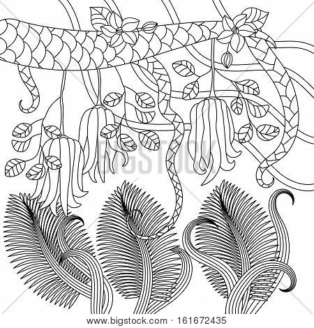 Pattern with tropical plants, flowers and citron Buddha's hand . Vector illustration. Adult antistress coloring page.