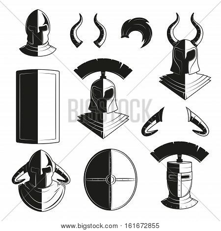 Vector set of icons of ancient helmets and protection. Icon images armor for design posters, logos, stickers. Armor, shields, helmets and knights. Medieval armor icon set.