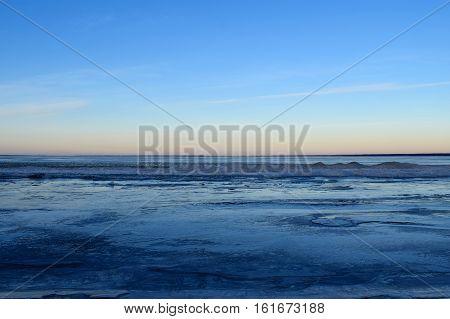 Frozen lake on December. Pyhajarvi, Ylane, Finland