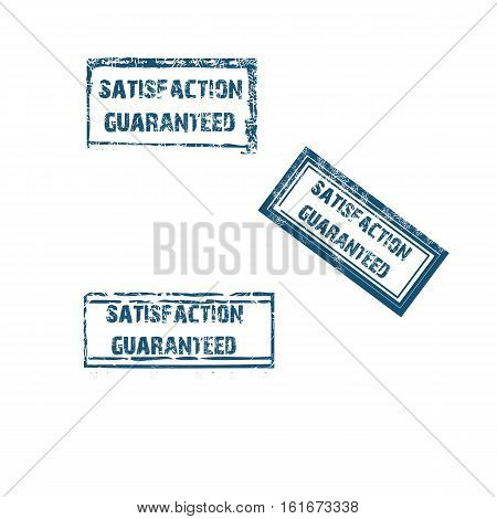 satisfaction guaranteed stamp collection in blue. Vector illustration