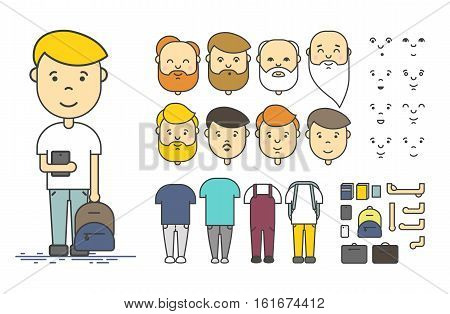 Man character creation set. Colorful linear vector icon with different types of faces, emotions, clothes, arms, object. Male person