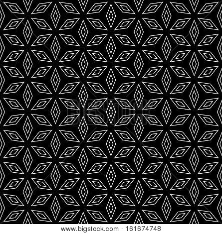 Vector monochrome seamless pattern, subtle ornamental geometric background, black & white abstract texture with thin linear rhombuses. Simple design element for printing, stamping, decoration, digital