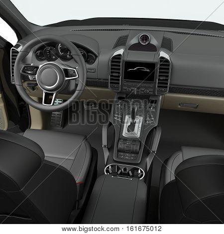 Luxury SUV interior isolated on white background. 3D illustration