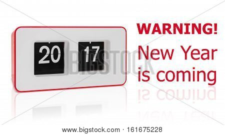 New year 2017 is coming, retro red flip clock displays 2017 year, isolated on white with paths