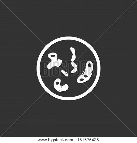 Bacteria vector logo isolated on a black background. Icon silhouette design template. Simple symbol concept in flat style. Abstract sign, pictogram for web, mobile and infographics