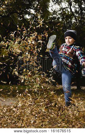 Naughty boy kicks a fun yellow foliage in autmn day