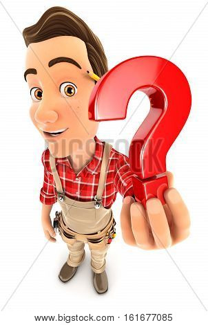 3d handyman holding a question mark icon illustration with isolated white background