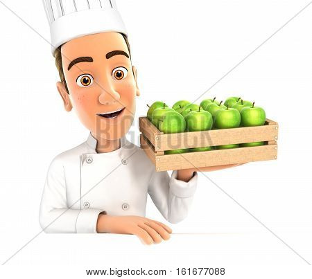 3d head chef holding wooden crate of apples illustration with isolated white background