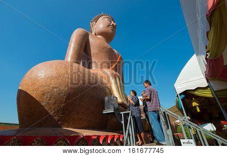 Nakhonpratom province, Thailand - November 21, 2016: Big buddha statue at Wat Klang Bang Phra Temple the place for Buddhist come to worship.